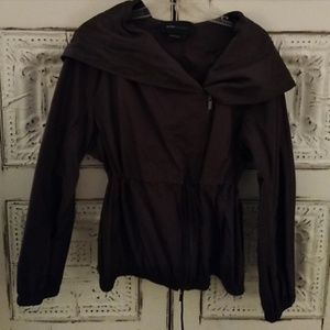 Bcbgmaxazria brown hooded windbreaker jacket